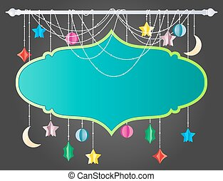 Hanging board with moon and stars f
