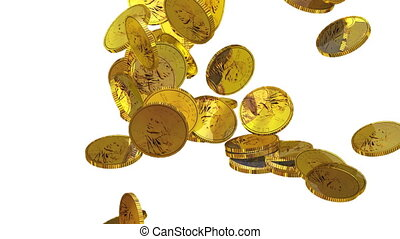 Coins falling down3D animation in HD
