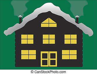 Christmas Log Chalet Silhouette - A Christmas log cabin...