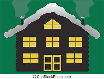 Christmas Log Chalet Silhouette - A Christmas log cabin...