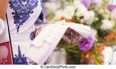 Wedding embroidered towel with bouquet - Wedding bouquet...