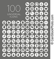 Set of 100 universal icons of business, science, health,...