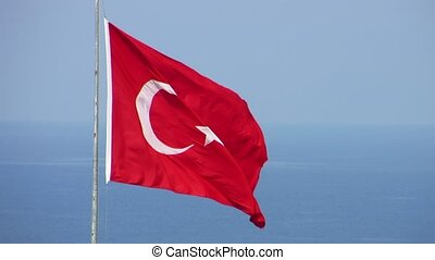 Flag of Turkey - National flag of Turkey is developing in...