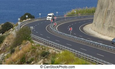 Road sharp turn along the sea in Alanya, Turkey