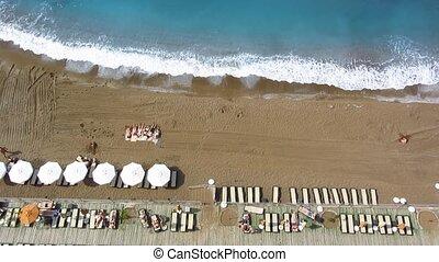 Beach aerial view - Beach in Turkey aerial view