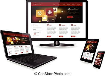 Responsive design - Responsive website template on multiple...