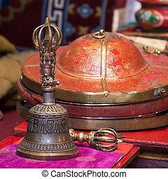 Tibetan Buddhist still life - vajra and bell. Likir gompa,...