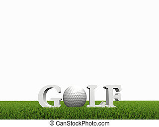 golf concept on green gras on white background