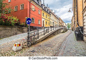 Narrow Street in Stockholm, Sweden - Narrow Street in Old...