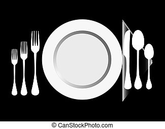 Plate with fork, knife ,spoon-vector