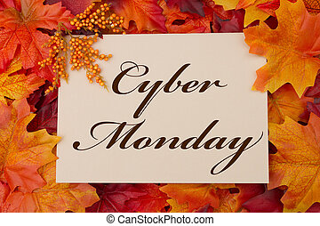 Cyber Monday - A Cyber Monday card, A beige card with words...