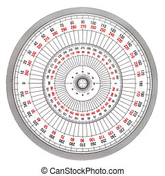 Full-Circle protractor isolated on white background