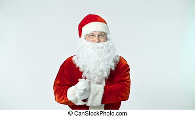 Funny Santa Dance - Waist up shot of jubilant Santa dancing...