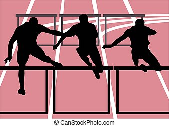 sport illustration of hurdle race