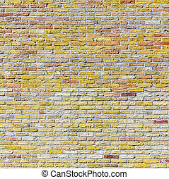 old harmonic brick wall background  in yellow