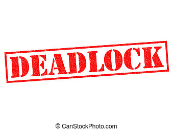 DEADLOCK red Rubber Stamp over a white background
