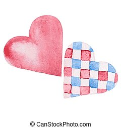 two hearts watercolor - Set of watercolor hearts. two hearts...