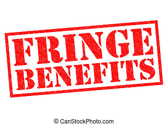FRINGE BENEFITS red Rubber Stamp over a white background.