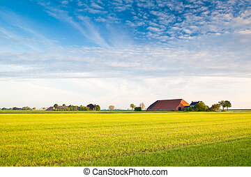 Countryside with farmer and meadows