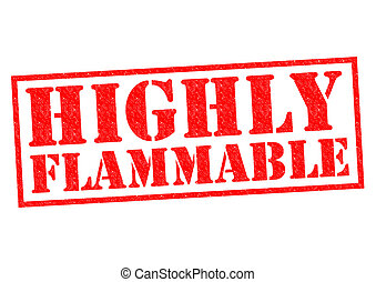 Highly flammable red rubber st over a white background