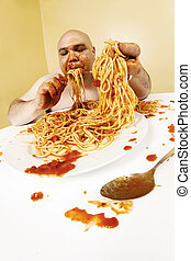 Gluttony - An overweight bald man enjoying a plate of...