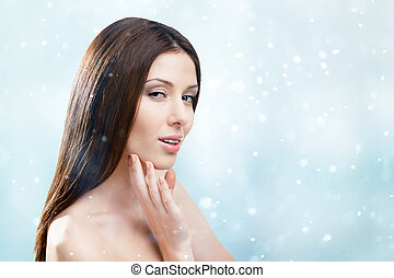 Winter portrait of naked pretty woman