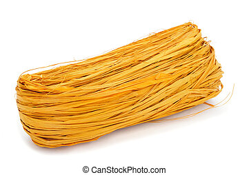 yellow natural raffia - a skein of natural raffia dyed...