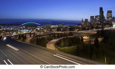 Time lapse traffic Seattle Skyline - Time lapse traffic on...