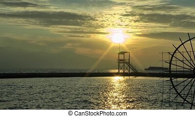 Sunset and Ferryboat