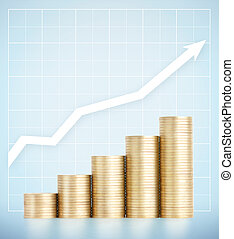 Gold coins standing on growth vertically in columns Concept...