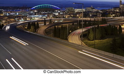 Time lapse traffic Seattle - Time lapse close up traffic on...