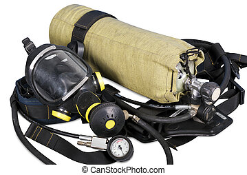Self contained breathing apparatus on a white background