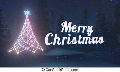 Animated Merry Christmas text near the illuminated Christmas...