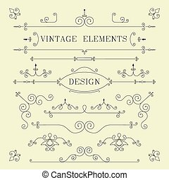 Vintage Design, Borders, Retro Elements, Frame, Vector