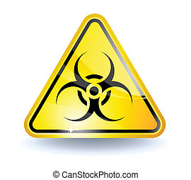Biohazard sign with glossy yellow surface