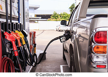Close up car refuel