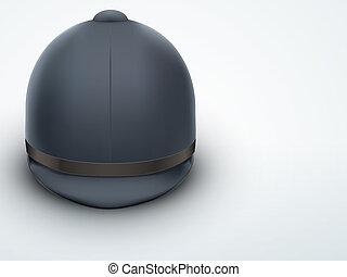 Light Background Jockey helmet for horseriding athlete.