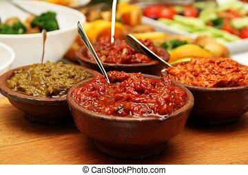 asado, rojo, pimienta, salsa,