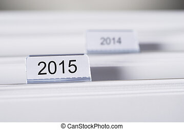 Folders Marked With 2015 And 2014 - Closeup of folders...