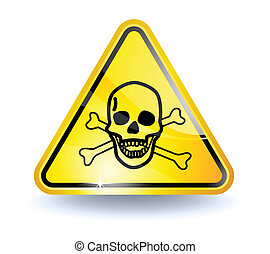 Poison sign with glossy yellow surface