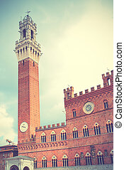 Siena - Tower in Siena, Italy. Retro style filtred image