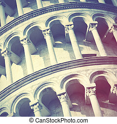 Leaning Tower of Pisa close up, Italy. Retro style filtred...