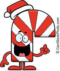 Cartoon Candy Cane Idea - A cartoon illustration of a candy...