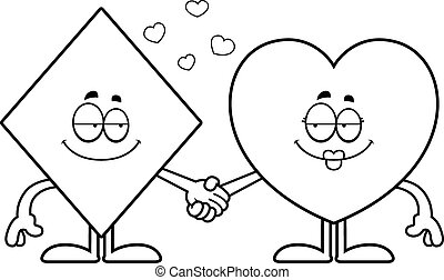 Cartoon Card Suits Holding Hands