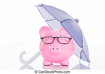 Piggybank Under Umbrella - Piggybank under umbrella isolated...