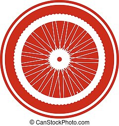 Bicycle wheel button on white background Vector illustration...
