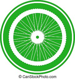 Bicycle wheel button on white background. Vector...