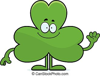 Cartoon Shamrock Waving