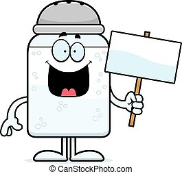 Cartoon Salt Sign - A cartoon illustration of a salt shaker...
