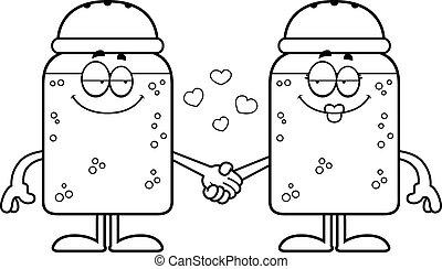 Cartoon Salt and Pepper Holding Hands - A cartoon...